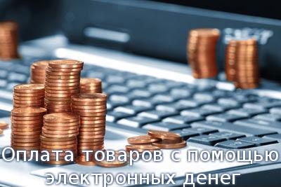 Оплата товаров с помощью электронных денег