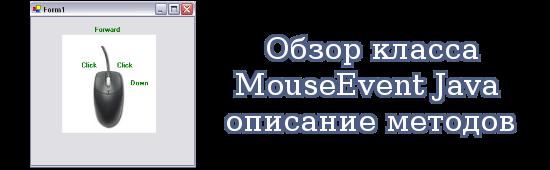 Обзор класса MouseEvent Java - описание методов и примеры