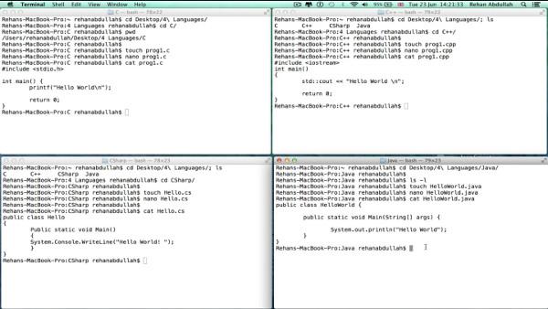 Взаимосвязь между Java и языками С, С++ и C#