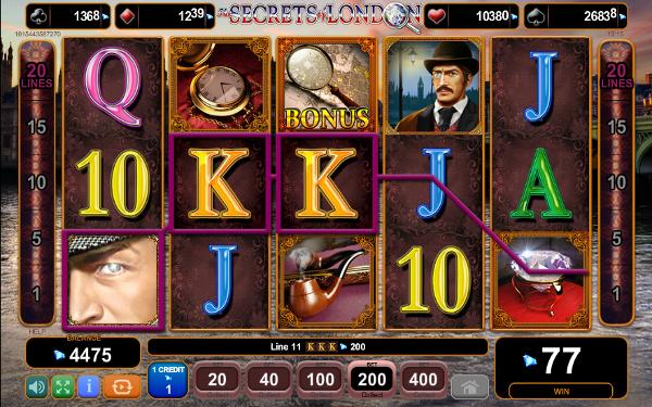 Игровой автомат The Secrets of London - детективные приключения в казино Вулкан