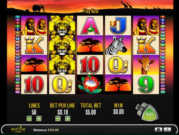 Игровой автомат 50 Lions - сокровища дикой Африке в казино Вулкан