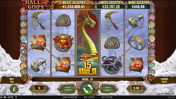 Игровой автомат Hall of Gods - побывай в мире скандинавских богов в казино Вулкан 24